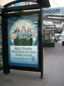 You can learn a lot about a country by the ads on the bus shelters. I had no idea NZ Girl Guides had their own cookie thing. But do they sell Thin Mints?