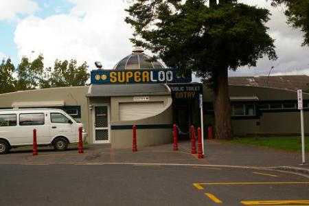 A SuperLoo. What's so super about it? I don't know, but I was intrigued.