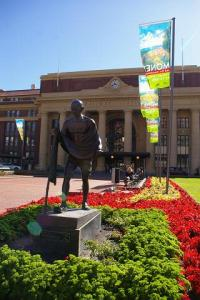 Ghandi stands guard over Wellington's Central Station.
